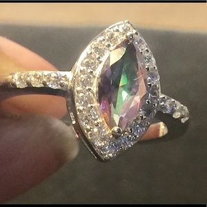 Beautiful Rainbow Topaz Sterling Silver Ring